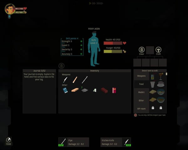 Inventory of food items, weapons and materials found throughout the hotel
