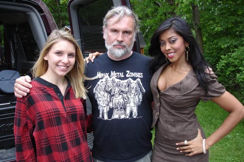 Alison Whitney, Brett Piper and Anju McIntyre on the set of Muckman