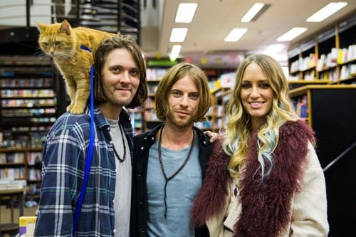 From left to right- James Bowen, Luke Treadaway (James) Ruta Gedmintas (Betty). Director and Co-producer Roger Spottiswoode. Producer Adam Rolston Shooting Script Films. Screenplay adapted by Tim John; based on the International Best Selling Book, A Street Cat Named Bob.  A Street Cat Named Bob, Waterstones. 8 Nov 2015
