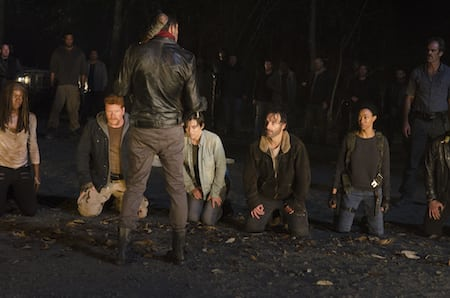 Danai Gurira as Michonne; Michael Cudlitz as Sgt Abraham Ford; Lauren Cohan as Maggie Greene; Andrew Lincoln as Rick Grimes; Sonequa Martin-Green as Sasha; Jeffrey Dean Morgan as Negan - The Walking Dead _ Season 6, Episode 16 - Photo Credit: Gene Page/AMC