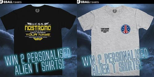 Win personalised Alien t-shirts from 8Ball