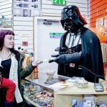 Darth Vader The Latest Recruit at Sense Charity Shop at Hillstreet Shopping Centre in Middlesbrough